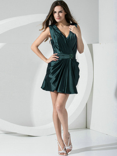 Sheath Stretch Satin Straps Sashes Short Dark Green Bridesmaid Dresses