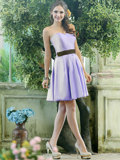 A-line Stretch Satin Sweetheart Knee-length Draped Lavender Bridesmaid Dresses