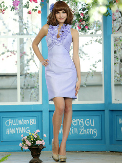 Sheath Stretch Satin Halter Flower Straps Short Lavender Draped Bridesmaid Dresses