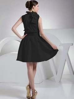 Appealing A-Line Taffeta High neck Bowknot Black Bridesmaid Dresses