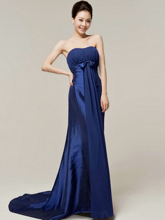 Column Sweetheart Strapless Bowknot Brush Train Royal Blue Bridesmaid Dresses