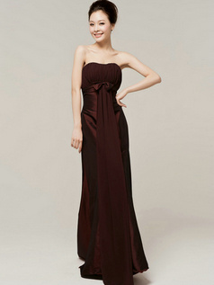Column Sweetheart Strapless Bowknot Brush Train Chocolate Bridesmaid Dresses