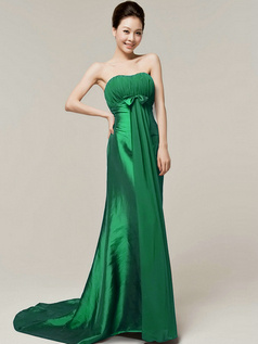 Column Sweetheart Strapless Bowknot Brush Train Hunter Bridesmaid Dresses