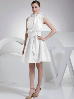 A-Line Taffeta High Neck Bowknot Pleats White Short Bridesmaid Dresses