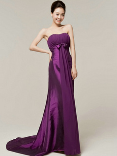 Column Sweetheart Strapless Bowknot Brush Train Grape Bridesmaid Dresses