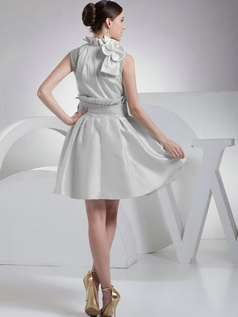 A-Line Taffeta High Neck Bowknot Pleats Silver Short Bridesmaid Dresses