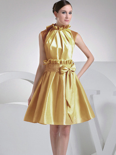 A-Line Taffeta High Neck Bowknot Pleats Gold Short Bridesmaid Dresses