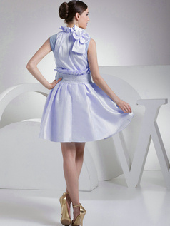 A-Line Taffeta High Neck Bowknot Pleats Lavender Short Bridesmaid Dresses