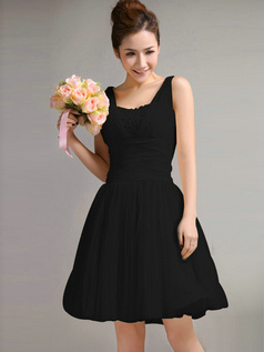 Beautiful A-Line Straps Draped Black Bridesmaid Dresses
