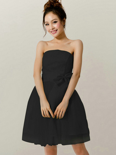 Surpassingly Beautiful A-Line Tube Top Strapless Bowknot Black Bridesmaid Dresses
