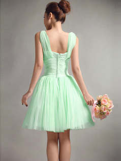 A-Line Straps Draped Short Sage Bridesmaid Dresses