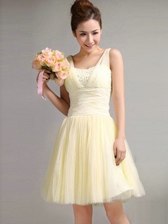 A-Line Straps Draped Short Daffodil Bridesmaid Dresses
