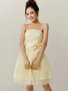 A-Line Tube Top Strapless Bowknot Short Daffodil Bridesmaid Dresses