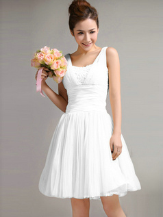 A-Line Straps Draped Short White Bridesmaid Dresses