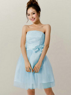 A-Line Tube Top Strapless Bowknot Short Light Sky Blue Bridesmaid Dresses