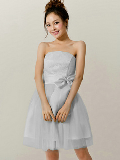 A-Line Tube Top Strapless Bowknot Short Silver Bridesmaid Dresses