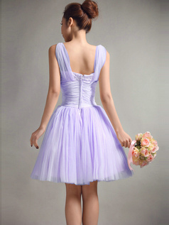 A-Line Straps Draped Short Lavender Bridesmaid Dresses