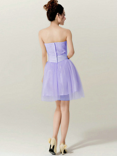 A-Line Tube Top Strapless Bowknot Short Lavender Bridesmaid Dresses