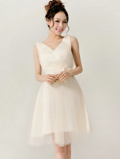 Beautiful A-Line V-neck Straps Bowknot Bridesmaid Dresses