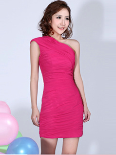Glamorous Sheath/Column One shoulder Tiered Bridesmaid Dresses