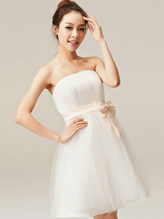 Graceful A-Line Tube Top Strapless Bowknot Bridesmaid Dresses