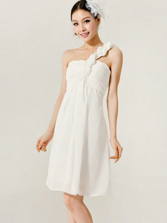 Lovely A-Line One shoulder Flower Bridesmaid Dresses