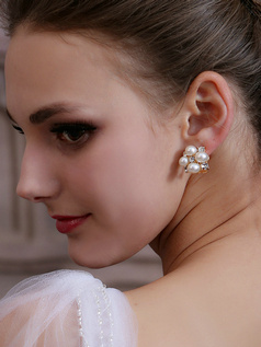 Beautiful Alloy Pearl Crystal Earrings