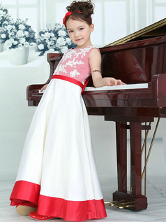 A-line Round Brought Floor-length Satin Appliques Bowknot Flower Girl Dresses