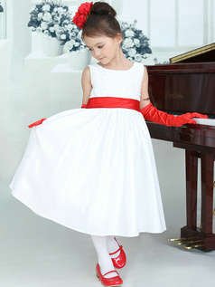 A-line Round Brought Tea-length Satin Bowknot Flower Girl Dresses