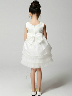 A-line Flower Round Brought Knee-length Taffeta Flower Girl Dresses