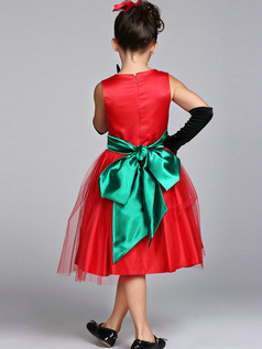 A-line Round Brought Knee-length Tulle Bowknot Flower Girl Dresses