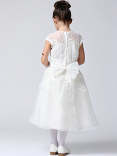 A-line Round Brought Tea-length Tulle Crystal Semi Transparent Flower Girl Dresses