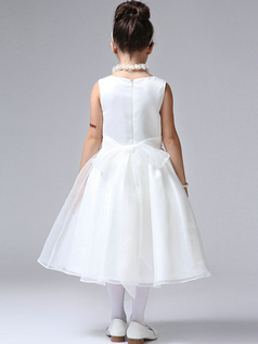 A-line Round Brought Tea-length Tulle Beading Flower Girl Dresses