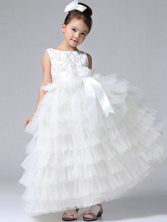 Princess Round Brought Ankle-length Tulle Cascading Tiered Flower Girl Dresses