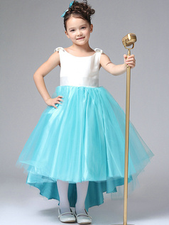 Ball Gown Bateau Ankle-length Tulle Bowknot High Low Flower Girl Dresses