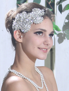 Classic Lace Headband Headpiece with Rhinestones and Crystals