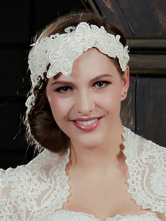 Luxury Lace Headband Headpiece with Beads