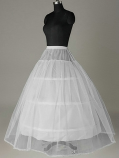Nylon A-Line Full Gown 2 Tiers Floor-length Wedding Petticoat