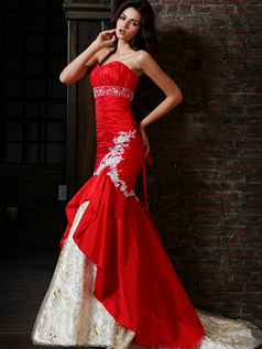 Brilliant Mermaid Taffeta Sweetheart Court Train Appliques Prom Dresses