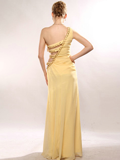 Gorgeous A-line Chiffon One shoulder Floor-length Evening/Prom Dresses Size 2 And Size 4