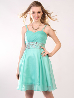 Astonishing Sheath/Column Chiffon Spaghetti Straps Short/Mini Homecoming/Cocktail Dresses Size 2 And Size 4