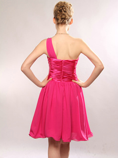 Adorable A-line One shoulder Short/Mini Draped Homecoming/Cocktail Dresses Size 2 And Size 4