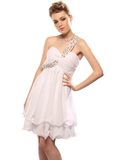 Noble A-line Chiffon Short/Mini Draped Sweet 16/Graduation Dresses