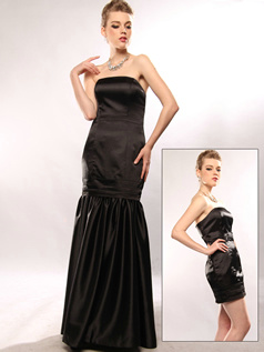 Detachable Mermaid/Trumpet Stretch Satin Tube Top Draped Evening/Prom Dresses