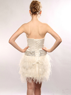Lovely A-line Taffeta Tube Top Feathers Cocktail/Homecoming Dresses Size 2 And Size 4