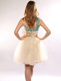 Elegant A-line One shoulder Short/Mini Flower Homecoming/Sweet 16 Dresses