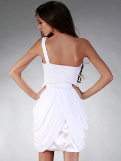 Simple Princess One shoulder Short/Mini Draped Graduation/Cocktail Dresses