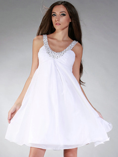 Perfect A-line Straps Short/Mini Beading Graduation/Homecoming Dresses