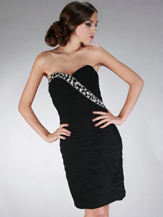 Brilliant Sheath/Column Chiffon Strapless Beading Cocktail/Homecoming Dresses