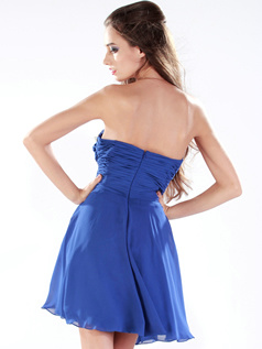 Gorgeous A-line Chiffon Strapless Crystal/Rhinestone Prom/Homecoming Dresses